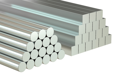 round rods: round bars and square rods, Rolled Metal Products. 3D rendering Stock Photo