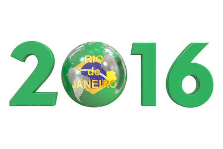 janeiro: Rio de Janeiro 2016 Brasil concept, 3D rendering