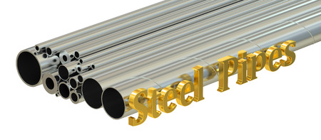 aluminum rod: Steel pipes concept, rolled metal. 3D rendering