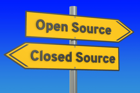 open source: open source or closed source concept, 3D rendering