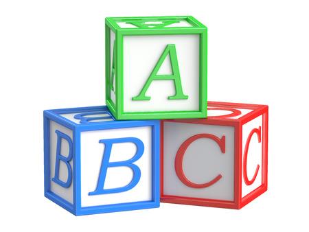 group b: Toy blocks, abc cubes. 3D rendering