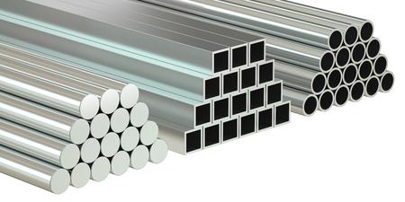 rolled: set of rolled metal, 3D rendering