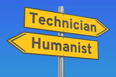 humanist: technician or humanist concept, 3D rendering Stock Photo