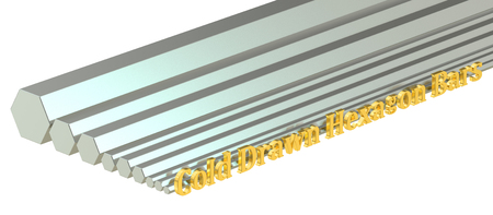 girders: cold drawn hexagon bars, rolled metal. 3D rendering Stock Photo