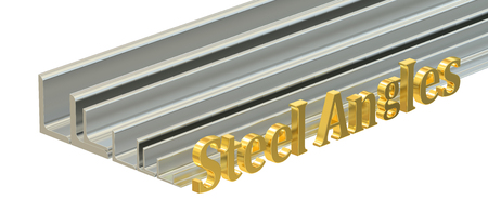 angles: rolled metal L-bar, steel angles. 3D rendering isolated on white background