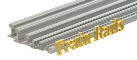 rolled: rolled metal, train rails. 3D rendering isolated on white background