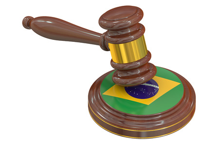 law of brazil: Brazilian flag with court hammer, 3D rendering Stock Photo