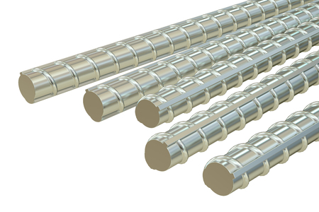 aluminum rod: Building armature bars, 3D rendering isolated on white background Stock Photo