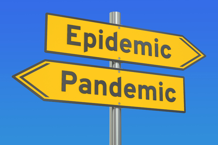breakout: epidemic vs pandemic concept on the road signpost. 3D rendering Stock Photo