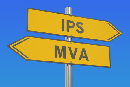 mva: IPS vs MVA concept, 3D rendering Stock Photo
