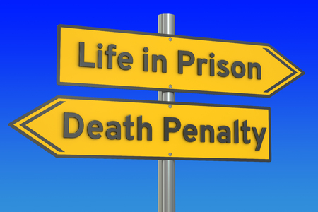 condemned: life in prison or death penalty concept, 3D rendering