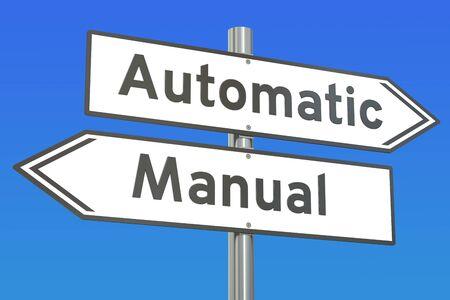 automatische vs manuelle Konzept, 3D-Rendering Standard-Bild