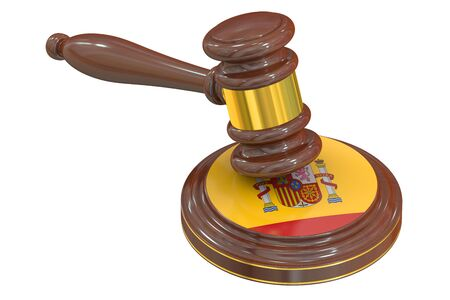 condemned: Wooden Gavel with Spanish Flag, 3D rendering Stock Photo