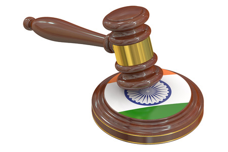 condemned: Wooden Gavel with Indian Flag, 3D rendering