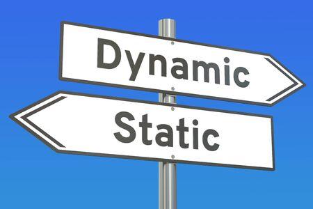 Dynamische of statische concept, 3D-rendering Stockfoto