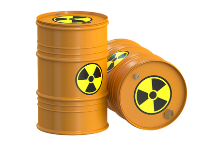 radioactive tank and warning sign: Radioactive barrels, 3D rendering  isolated on white background