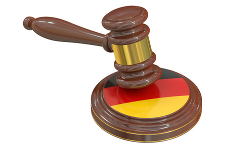 condemned: Wooden Gavel with Flag of Germany, 3D rendering