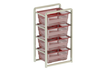 drawers: Storage Drawers with plastic boxes. 3D rendering Stock Photo