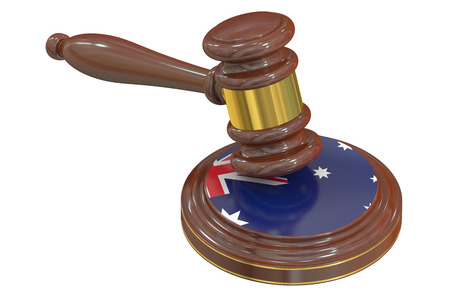 juridical: Wooden Gavel with Flag of  Australia, 3D rendering