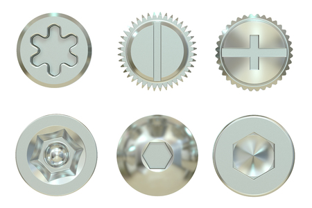 3d  bolt: Screw and Bolt heads, 3D rendering isolated on white background