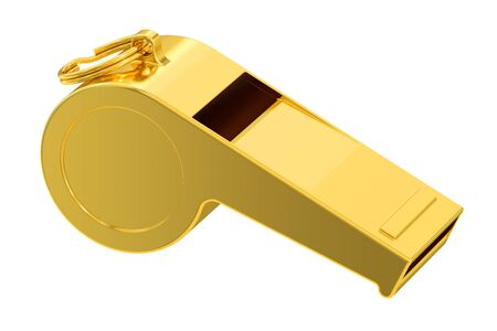 soccer coach: golden whistle, 3D rendering isolated on white background