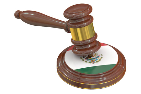 condemned: Wooden Gavel with Flag of Mexico, 3D rendering Stock Photo
