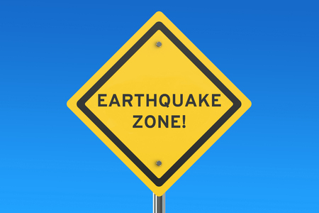 seismic activity: Earthquake Yellow Road Sign,  3D rendering