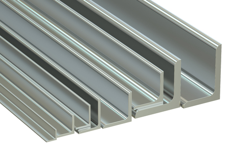 angles: rolled metal L-bar, angles. 3D rendering isolated on white background