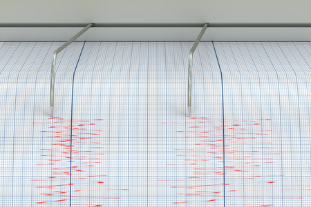 sismogr�fo: Seismograph Earthquake Activity concept, 3D rendering