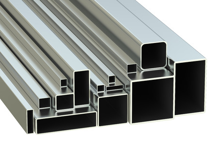 square: steel square tubes concept, rolled metal. 3D rendering