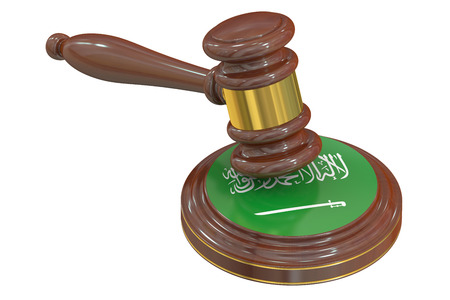 condemned: Wooden Gavel with Flag of Saudi Arabia, 3D rendering