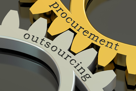 reciprocity: Procurement Outsourcing concept on the gearwheels, 3D rendering Stock Photo