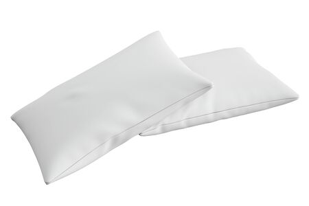 headboard: white pillow, 3D rendering isolated on white background