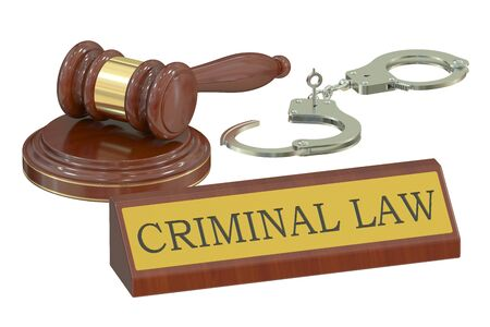 criminal law: Wooden gavel and handcuffs, criminal law concept. 3D rendering Stock Photo