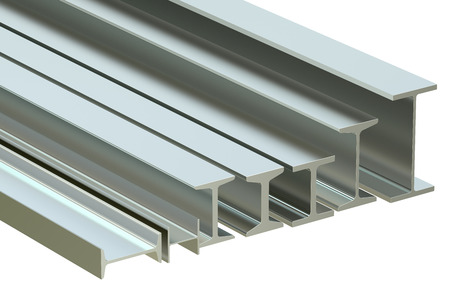 rolled: structural beams, steel rolled metal H-beam. 3D rendering Stock Photo