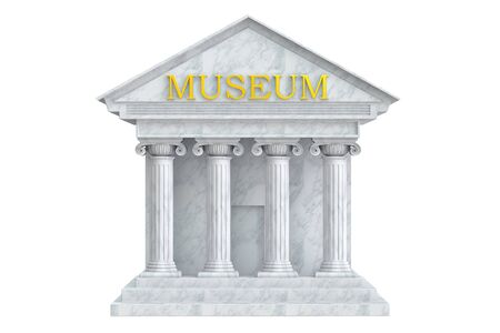 museum: Museum building with columns, 3D rendering Stock Photo