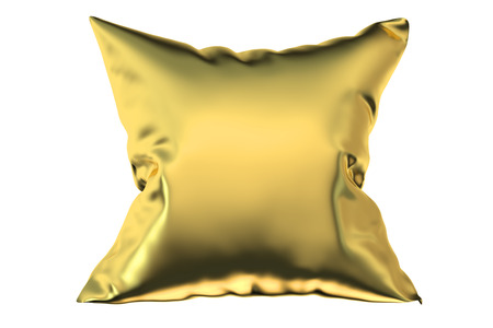headboard: golden pillow, 3D rendering isolated on white background Stock Photo