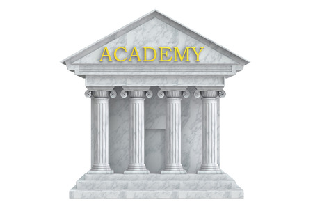 academy: Academy building with columns, 3D rendering