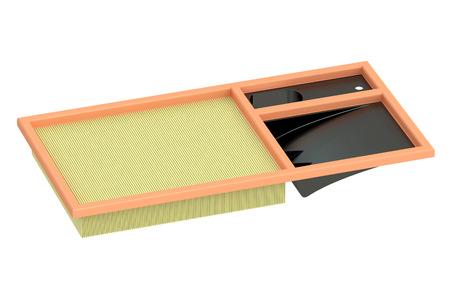 air cleaner: filtro de aire para el coche, representación 3D aislada en el fondo blanco