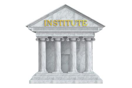 institute: Institute building with columns, 3D rendering Stock Photo