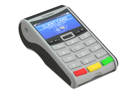 cashless payment: POS-terminal, 3D rendering isolated on white background Stock Photo