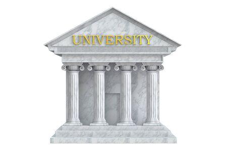 University building with columns, 3D rendering