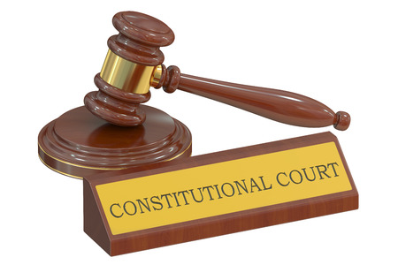 constitutionally: constitutional court concept with gavel. 3D rendering
