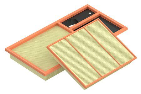 air cleaner: Los filtros de aire para el coche, representación 3D aisladas sobre fondo blanco Foto de archivo
