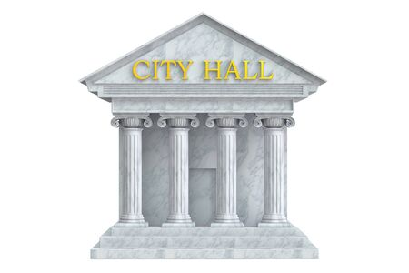 city hall building with columns, 3D rendering