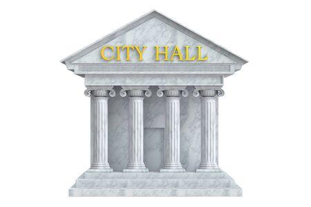 miasto, budynek sali z kolumnami, 3D
