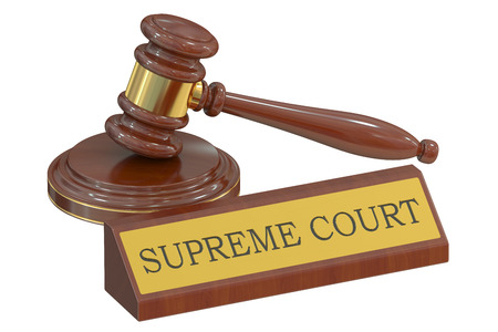 appellate: supreme court concept with gavel. 3D rendering Stock Photo