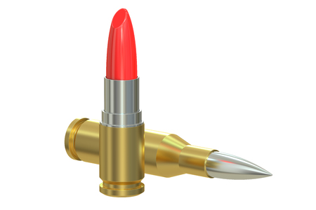 love blast: Bullet Lipstick, 3D rendering isolated on white background