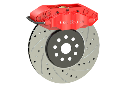 rotating parts: Car disc brake and caliper. 3D rendering isolated on white background