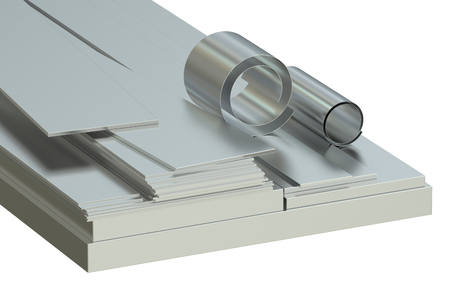 white sheet: Steel sheets concept, rolled metal. 3D rendering